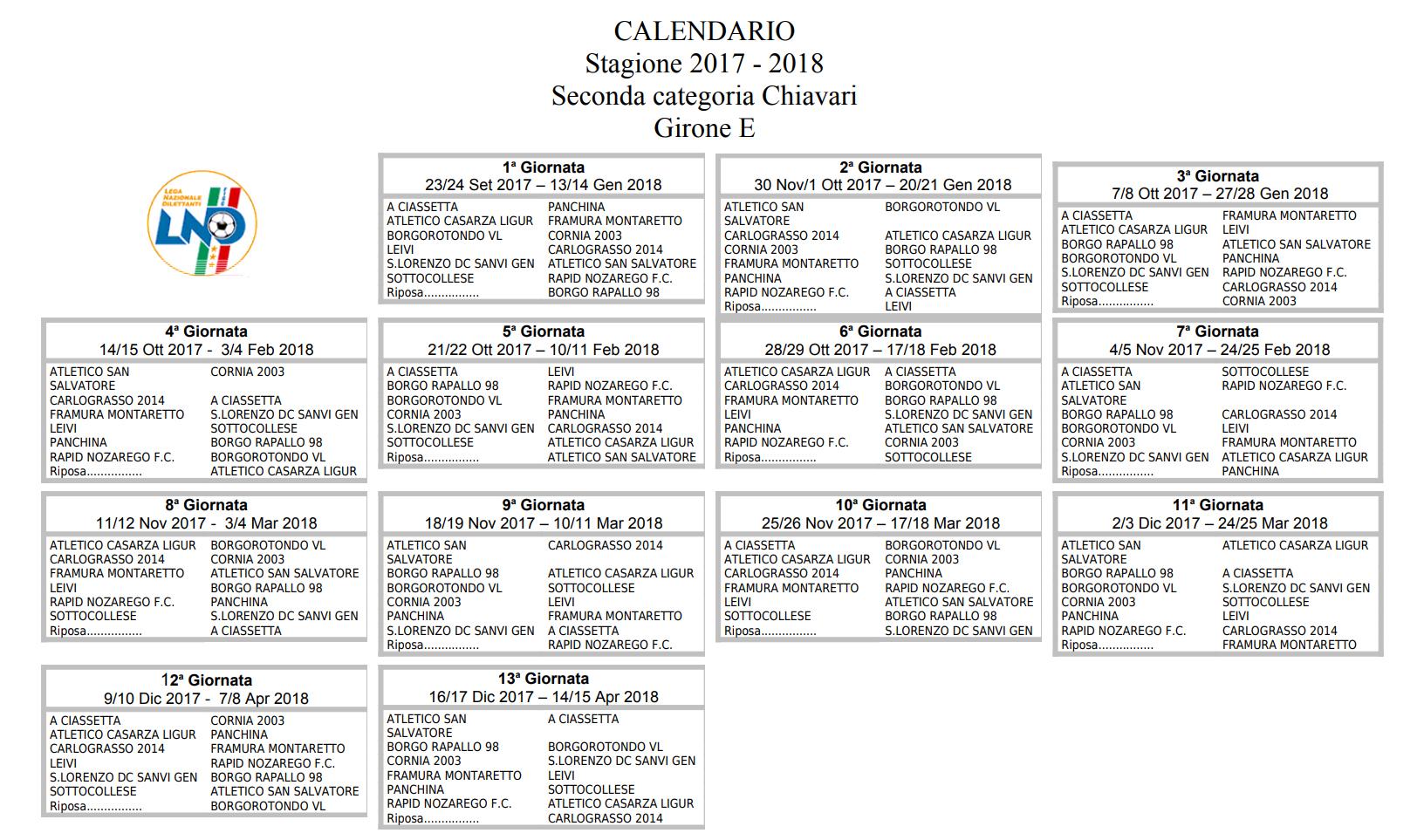 Calendario Terza Categoria.Calcio Locale Ecco Il Calendario Di Seconda Categoria Il