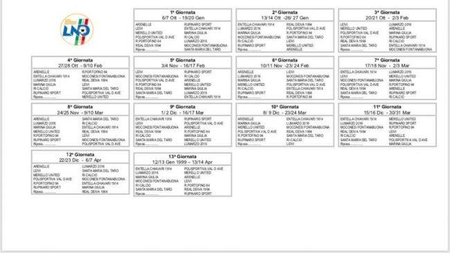 Calendari seconda e terza categoria
