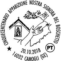 Camogli, l'annullo speciale della Madonna del Boschetto