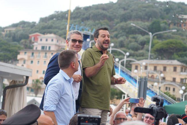 Salvini a Recco incontra Gandolfo ed improvvisa un comizio