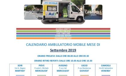 Ambulatorio mobile, le date di settembre a Pieve Ligure