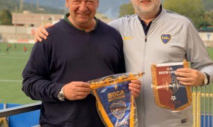 Una delegazione del Boca Juniors al Sivori per omaggiare il Sestri