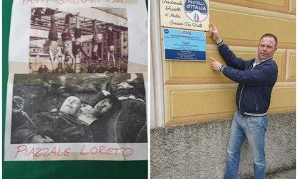 """""""Tanti saluti da Piazzale Loreto"""" con le foto di Mussolini e Claretta al Circolo FdI"""