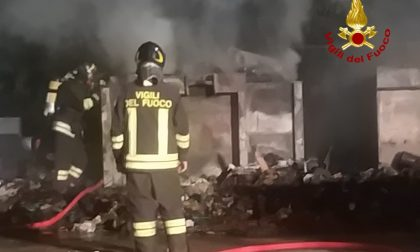 Due container a fuoco in autostrada