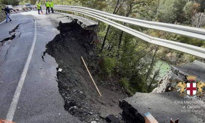 Cede una parte di sp586, strada crollata