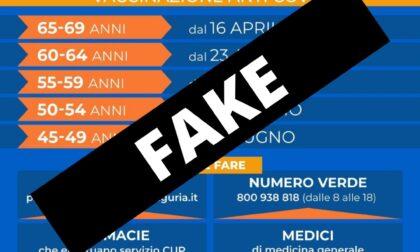 """Regione Liguria: """"Grafica Fake campagna vaccinale diffusa sui Social Media"""""""