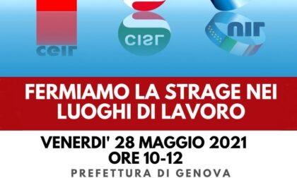 """Cgil Cisl Uil, presidio davanti alla Prefettura di Genova: """"Fermiamo la strage nei luoghi di lavoro"""""""