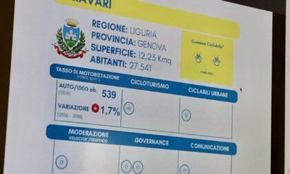 4° edizione Comuni Ciclabili di Fiab. Bandiera gialla per Chiavari con 2 bike smile