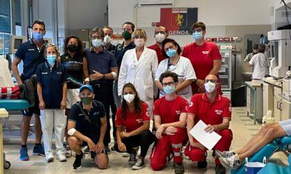 Atleti e volontari di Recco insieme per donare sangue al San Martino