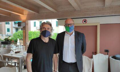 Ligabue a Chiavari, le prime immagini con il sindaco Di Capua